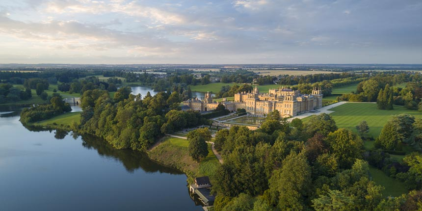Aerial view of the grounds of Blenheim Palace