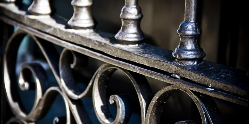 Close up of wrought iron banister