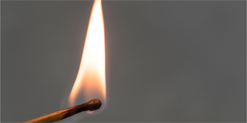 Close up of a lit match